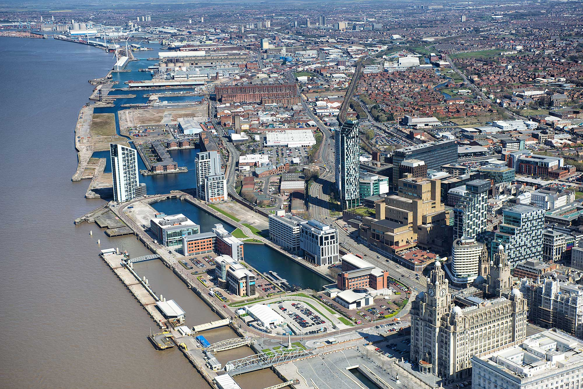 Ariel view of Liverpool waters