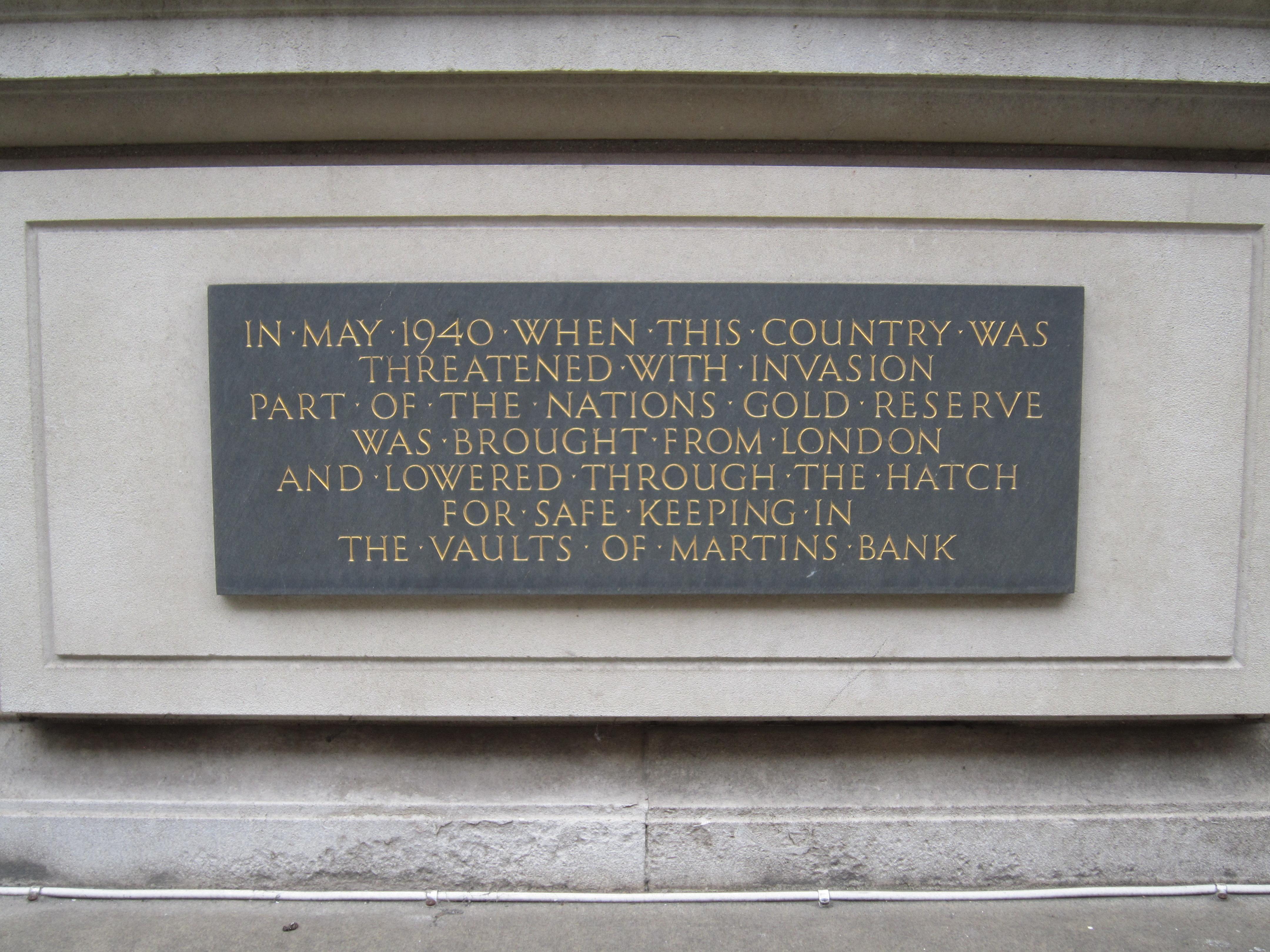 Martins Bank plaque